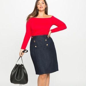 Eloquii Nautical A-Line Denim Skirt